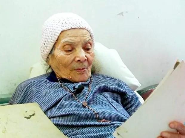 Hilda Valentin em agosto de 2014 durante entrevista ao Fantástico (Foto: Reprodução/ TV Globo)