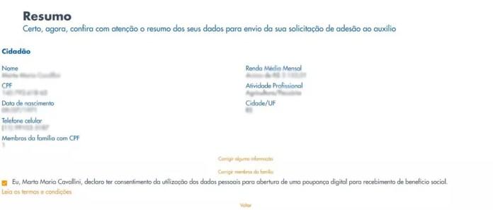 Página de cadastro para programa de auxílio emergencial no site da Caixa — Foto: Reprodução