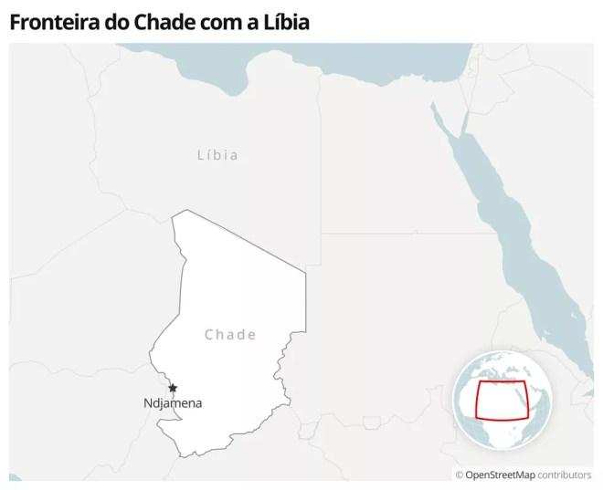 Mapa mostra a localização do Chade — Foto: G1