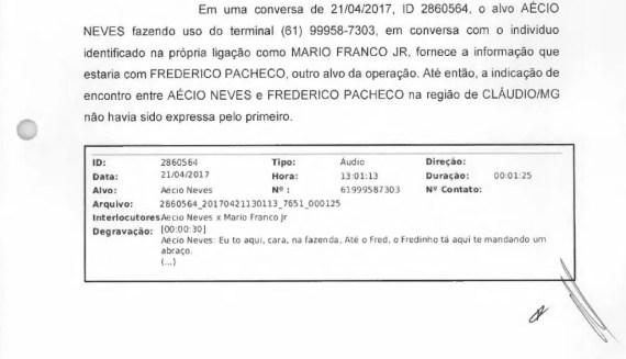 Trecho de relatório da PF menciona encontro de Aécio Neves e Frederico Pacheco (Foto: Reprodução)
