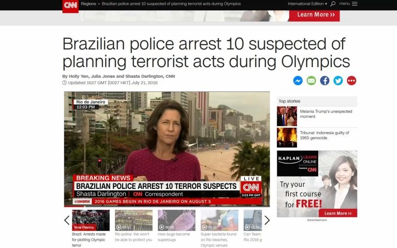 Canal americano CNN repercute prisão de suspeitos de ligação com terrorismo no Brasil