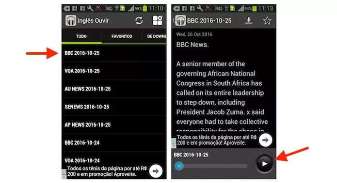 Notícias em inglês no aplicativo Ouvir Inglês (Foto: Reprodução/Marvin Costa)
