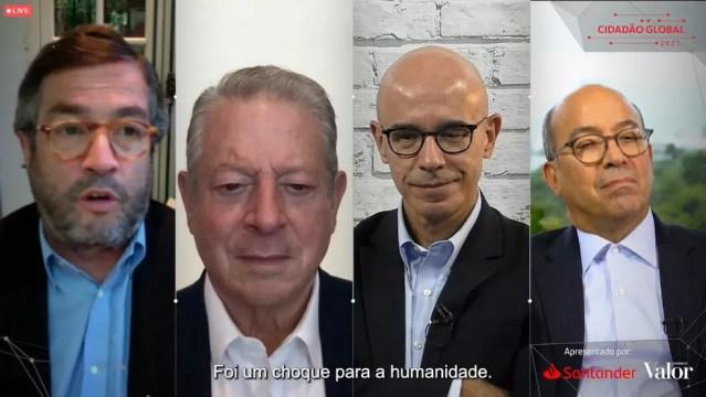Talk show com Al Gore, Sérgio Rial e José Roberto Marinho, mediado por Luis Alberto Moreno — Foto: Reproducao/Youtube