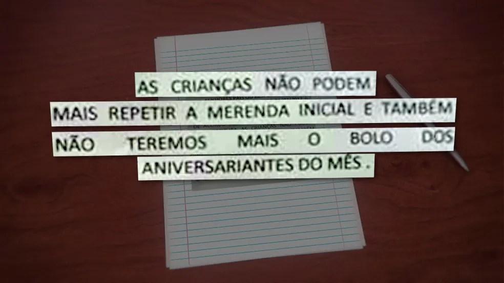 Bilhete enviado aos pais notifica a restrição alimentar (Foto: Reprodução/TV Globo)