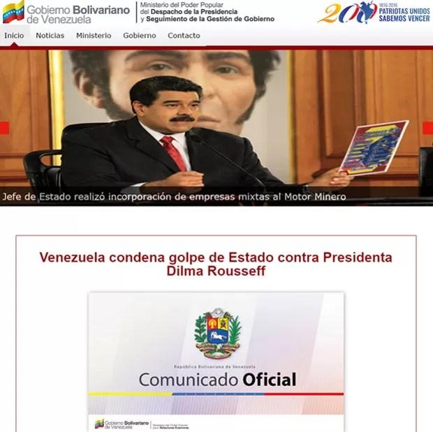Presidência da Venezuela anunciou em comunicado o congelamento de relações políticas e diplomáticas com o Brasil (Foto: Reprodução/Gobierno Bolivariano de Venezuela)