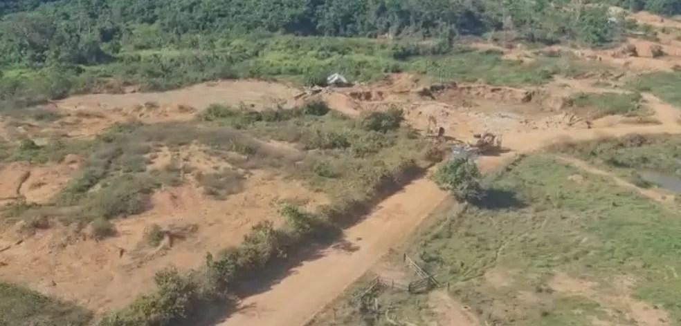 Áreas de extração ilegal de ouro em Ourilândia do Norte — Foto: Ascom/PF