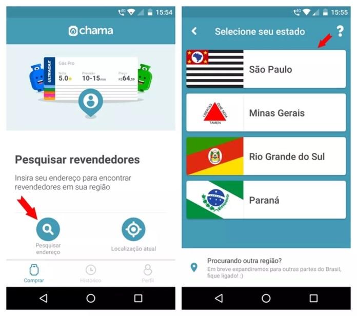 Aplicativo Chama faz uma pesquisa de revendedores próximos da região do usuário — Foto: Reprodução/Adriano Ferreira