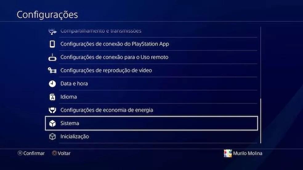 Vá até a opção sistema do PS4 (Foto: Reprodução/Murilo Molina)