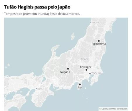 Mapa mostra cidades atingidas pela passagem do Tufão Hagibis no Japão — Foto: Letícia Macedo/ G1