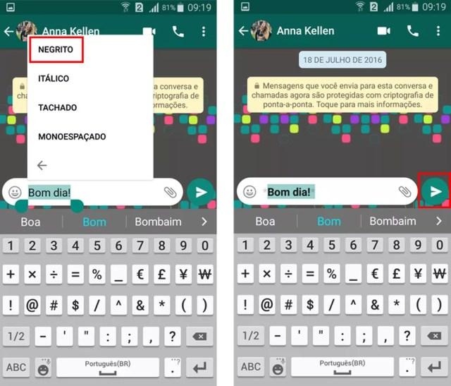 Escolha a formatação para a mensagem no WhatsApp (Foto: Reprodução/Aline Batista)