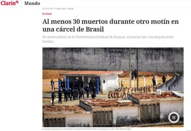 Rebelião em mais um presídio do RN nesta segunda; imprensa internacional repercute