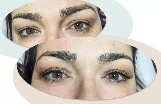 Antes e depois: cílios alongados! (Foto: Arte Vogue Online)