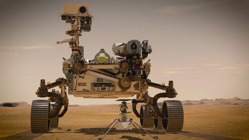 O Perseverance vai explorar o solo e a atmosfera do planeta vermelho por pelo menos um ano marciano, ou seja, 687 dias terrestres — Foto: Nasa