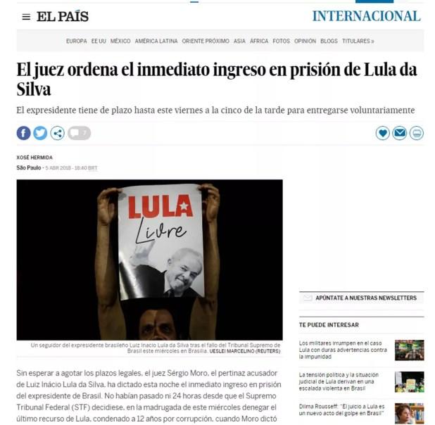 Jornal espanhol 'El País' repercute mandado de prisão de Lula (Foto: Reprodução/ElPais.com)