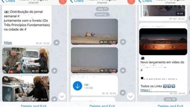 Membros do EI divulgam vídeos, fotos e notícias em tempo real em grupos online em português (Foto: Reprodução/Telegram)