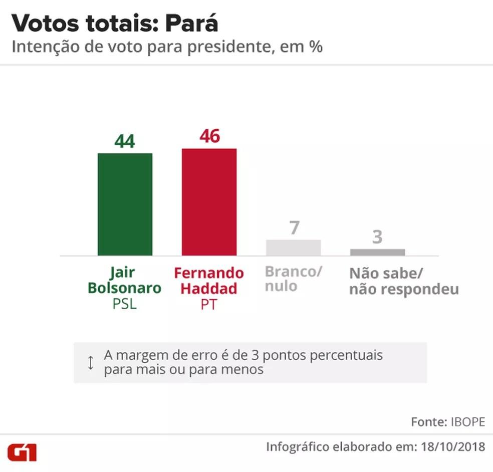 Pesquisa Ibope - 2º turno - Pará - votos totais no estado — Foto: Arte/G1