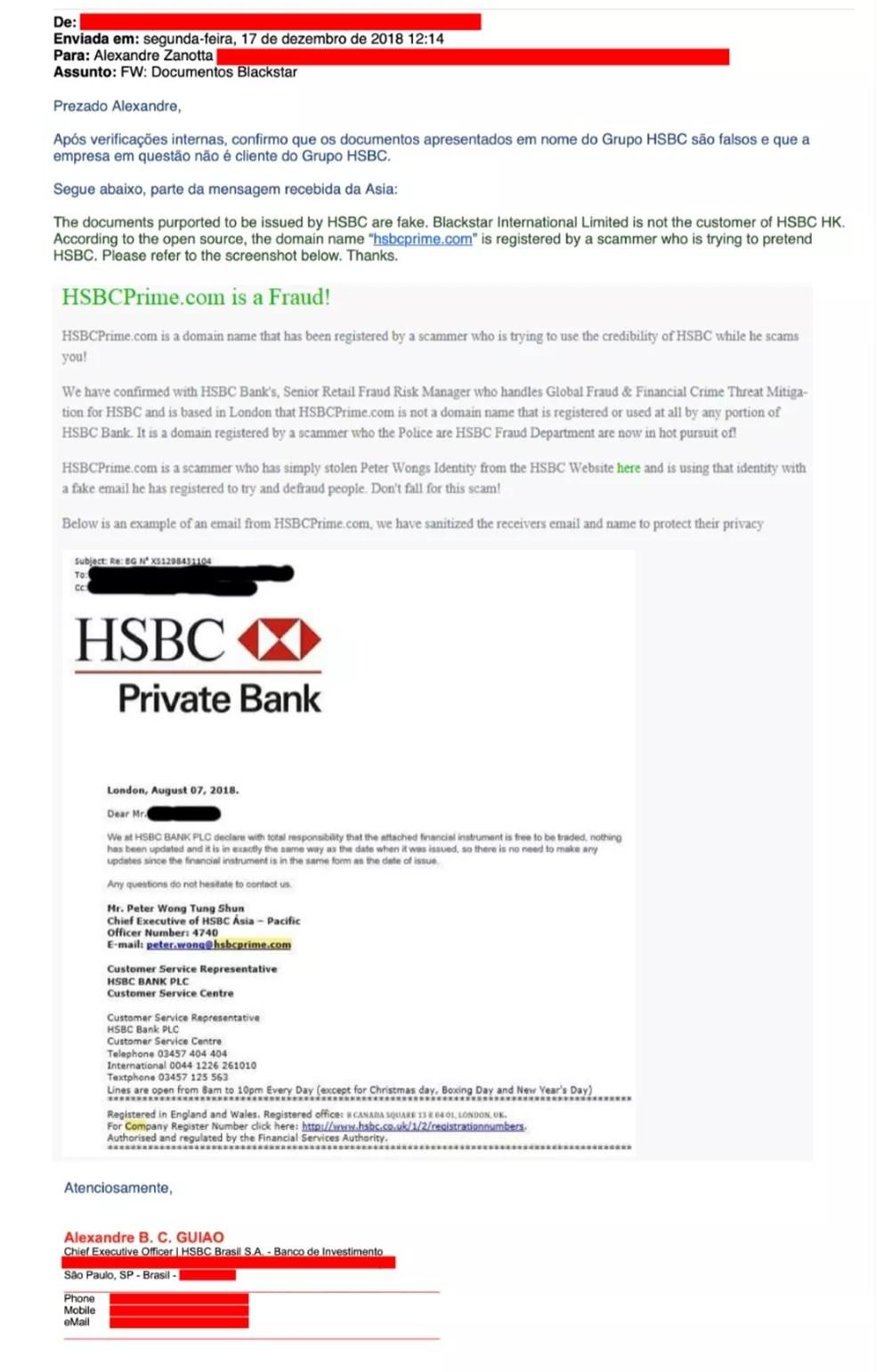 Reprodução do e-mail enviado pelo HSBC ao diretor jurídico do Palmeiras, informando que a garantia bancária apresentada pela Blackstar é falsa — Foto: Reprodução