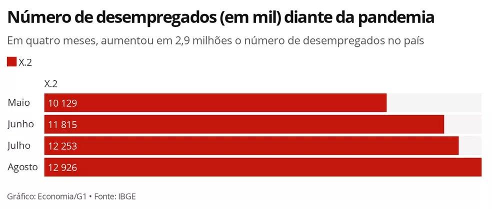País encerrou agosto com o maior número de desempregados desde que o IBGE começou a analisar o desemprego na pandemia — Foto: Economia/G1