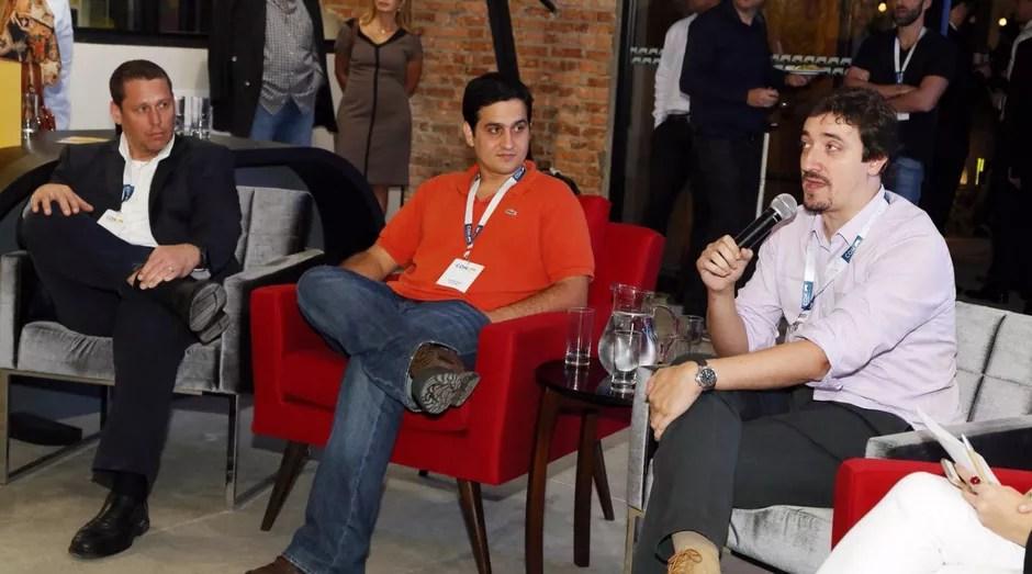 Sérgio Herz, Eduardo Baez e Juliano Seabra durante a inauguração do CO.W. Coworking Space Berrini (Foto: Divulgação)
