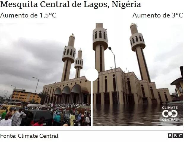Lagos Central Mosque (Photo: CLIMATE CENTRAL via BBC)