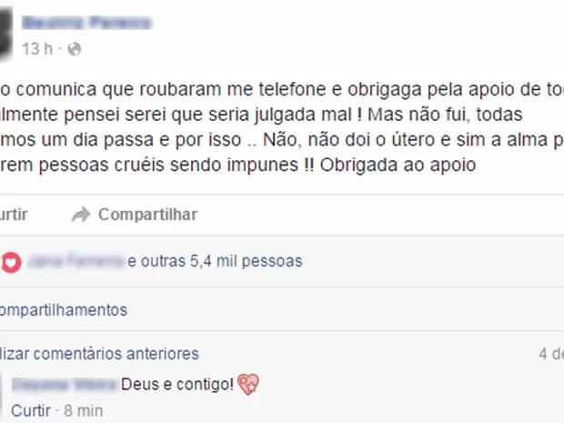Jovem vítima de estupro no Rio deixou mensagem em rede social (Foto: Reprodução/Facebook)