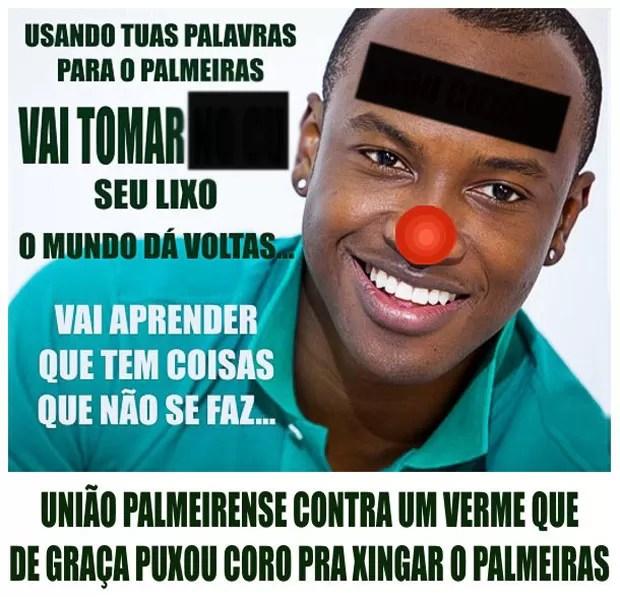 protesto Thiaguinho torcida Palmeiras (Foto: Reprodução)