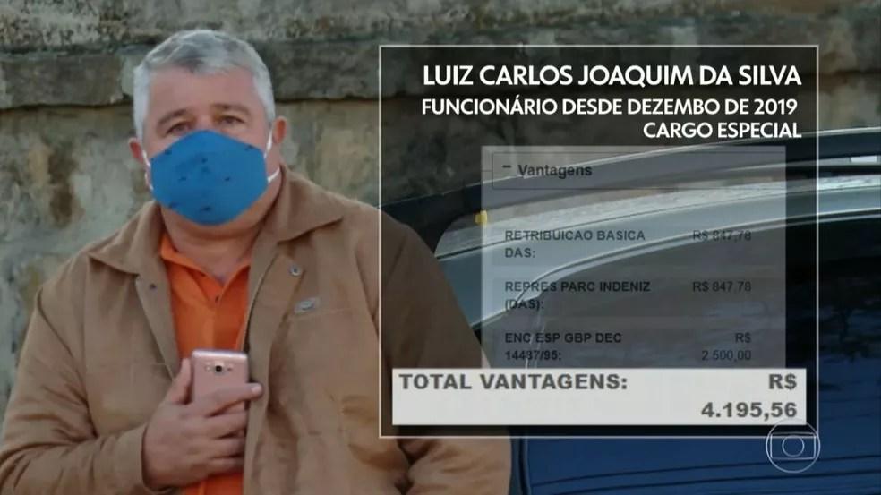 Luiz Carlos tem cargo especial na prefeitura e recebe mais de R$ 4 mil — Foto: Reprodução/TV Globo