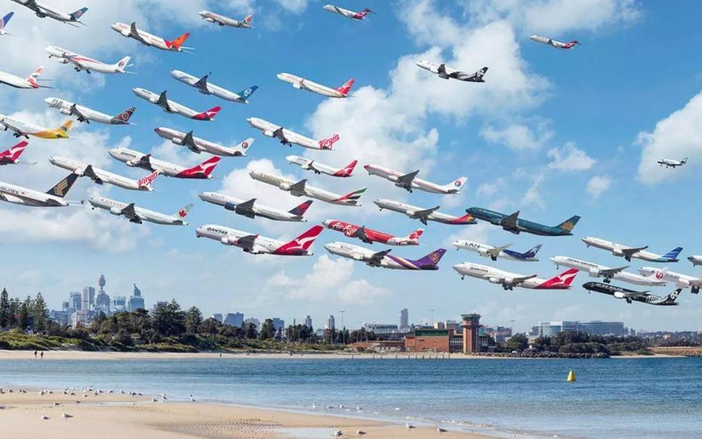 Fotógrafo viajou a diversos locais do mundo para fotografar aeroportos movimentados (Foto: Mike Kelley)