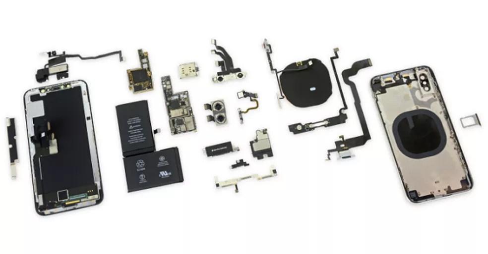 Componentes internos do iPhone X (Foto: Divulgação/iFixit)