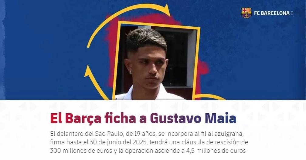 Barcelona B anunciou compra de Gustavo Maia, ex-São Paulo — Foto: Reprodução