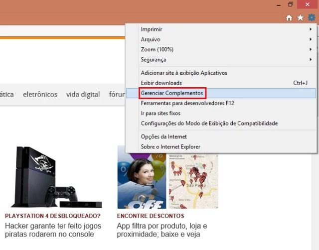 No IE, acesse a opção Gerenciar Complementos (Foto: Reprodução/Paulo Alves) (Foto: No IE, acesse a opção Gerenciar Complementos (Foto: Reprodução/Paulo Alves))