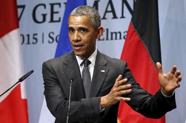 Presidente dos EUA, Barack Obama, em entrevista coletiva no encerramento da cúpula do G7 na Alemanha (Foto: Kevin Lamarque/Reuters)