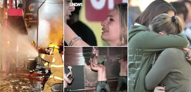 Fogo mata 245 em boate no RS, diz polícia (Germano Roratto e Ronald Mendes/Agência RBS e Globo News)
