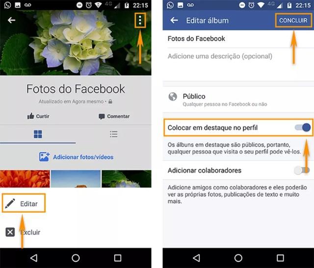 Coloque o álbum do Facebook em destaque no seu perfil pelo celular (Foto: Reprodução/Barbara Mannara)