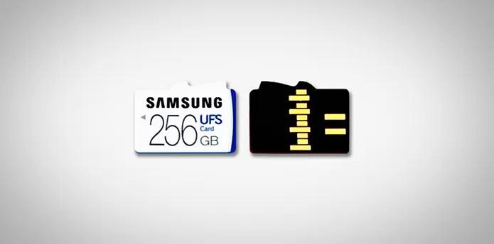 Cartão UFS tem dimensões e formato parecido com microSD, mas os dois padrões não são compatíveis entre si (Foto: Divulgação/Samsung) (Foto: Cartão UFS tem dimensões e formato parecido com microSD, mas os dois padrões não são compatíveis entre si (Foto: Divulgação/Samsung))