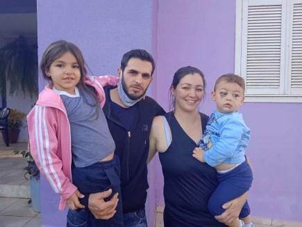 Família se reuniu em casa, em Saudades (SC), neste domingo (9) — Foto: Diego Hubler/Arquivo Pessoal