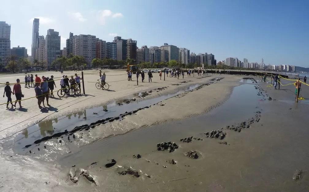 Destroços de navio atraem a atenção de curiosos em Santos, SP (Foto: José Claudio Pimentel/G1)