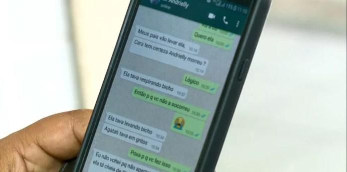 Mensagens trocadas entre o pai de Andrielly e o suspeito do crime (Foto: Luciney Araujo/TV Gazeta)