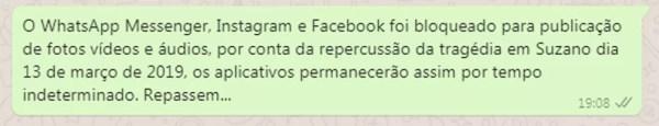 Uma das mensagens falsas que têm sido compartilhadas — Foto: Reprodução/WhatsApp