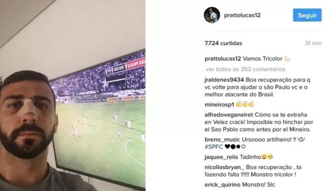 Pratto instagram nariz quebrado São Paulo (Foto: Reprodução / Instagram)
