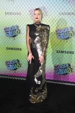 Margot Robbie em première de filme em Nova York, nos Estados Unidos (Foto: Jamie McCarthy/ Getty Images/ AFP)