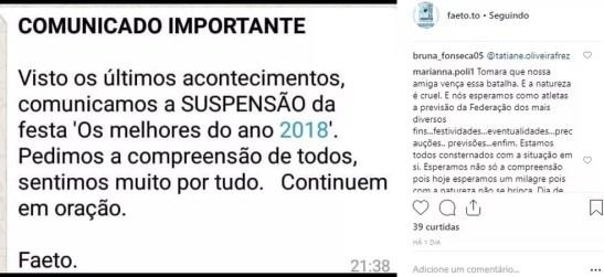 FAETO comunica que não haverá premiação de fim de ano — Foto: Divulgação/Instagram