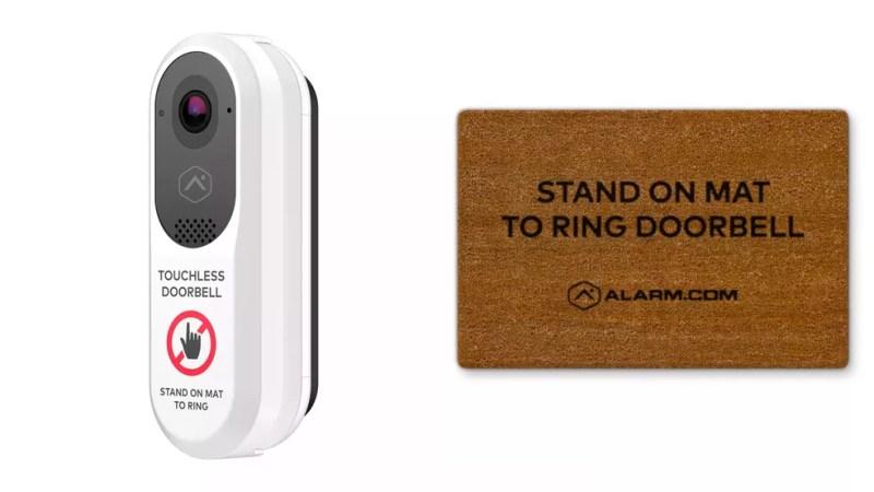 Interfone e capacho da Alarm.com foram criados para evitar contatos em meio à pandemia. — Foto: Divulgação/Alarm.com