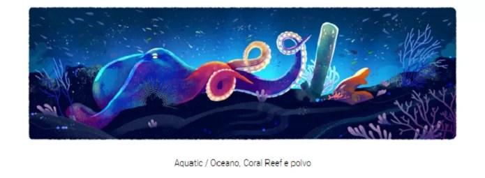 Recifes e polvos representaram o bioma marinho no doodle do Dia da Terra 2016 (Reprodução/Carol Danelli)