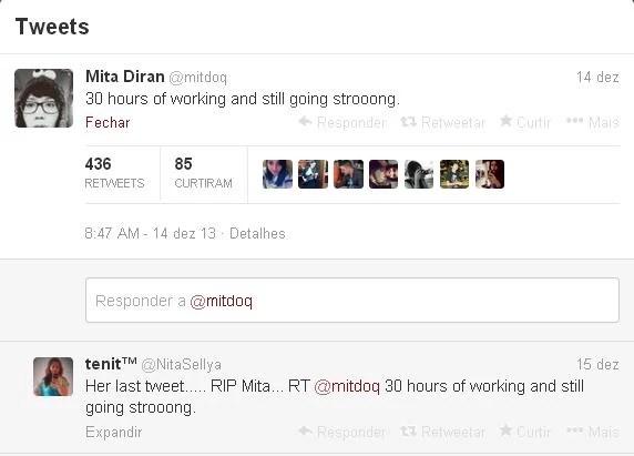 """""""30 horas trabalhando e ainda firme e forte"""", diz o último tuíte de Mita Diran, publicado no dia 14 (Foto: Reprodução Twitter/@mitdoq )"""