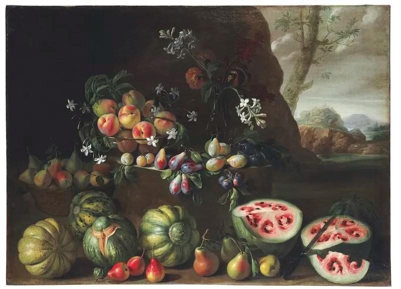 Quadro do artista italiano Giovanni Stanchi retrata a fruta de forma bem diferente da qual a conhecemos (Foto: Reprodução/Christie's)