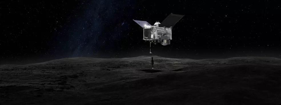 Simulação do momento em que a sonda OSIRIS-REx contacta o asteroide Bennu — Foto: Nasa