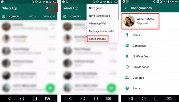 """Acesse as configurações do WhatsApp para mudar seu """"Recado"""" (Foto: Reprodução/Aline Batista)"""