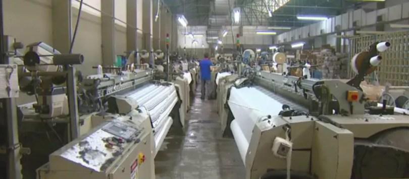 Indústria têxtil na região de Campinas (Foto: Reproduçã/EPTV)