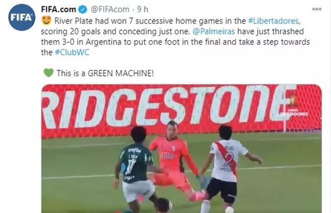 Fifa elogia o Palmeiras — Foto: Reprodução